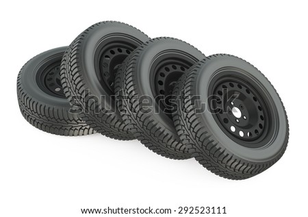 Group of automotive wheels isolated on white background
