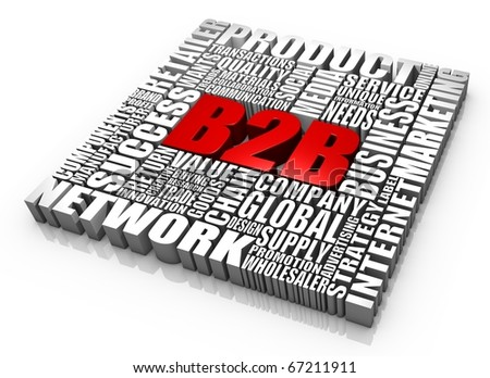 Group of B2B related 3D words. Part of a series. - stock photo
