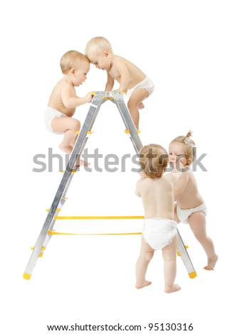 Group of babies climbing on stepladder and fighting for first place over white background. Competition concept. Isolated over white - stock photo