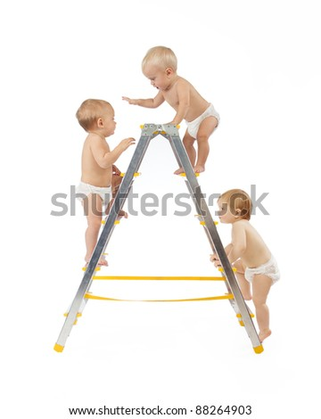 group of babies climbing on stepladder over white background	 - stock photo