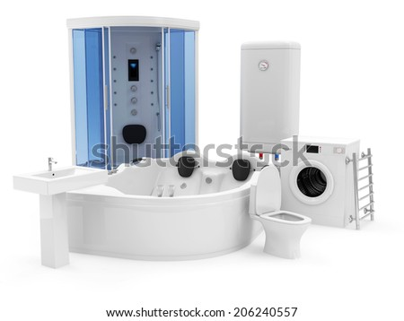 Group Bathroom Equipment Shower Cabin Jacuzzi Stock Illustration