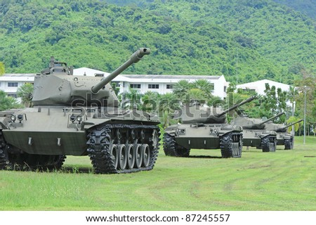 Group of battle tank - stock photo