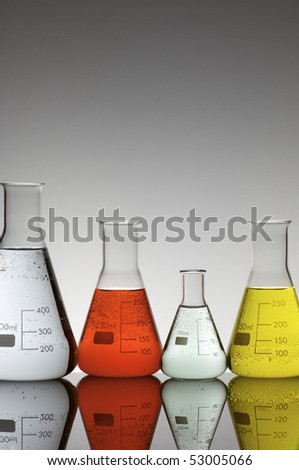 group of beakers with a white background
