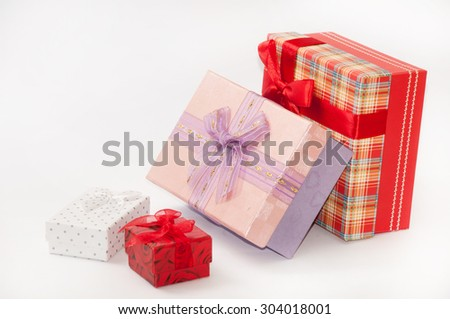 Group of beautiful gift box with bows.