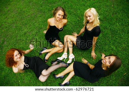 Group of beautiful women - stock photo