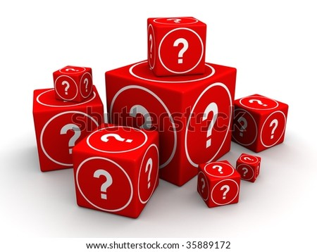 Group of big and small cube box with question mark 3d illustration - stock photo