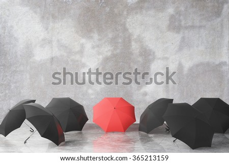 Group of black and one red umbrella 3D Render - stock photo