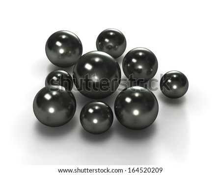 Group of black pearls with clipping path - stock photo