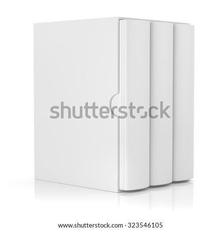 Group of blank books in cardboard box cover isolated on white background