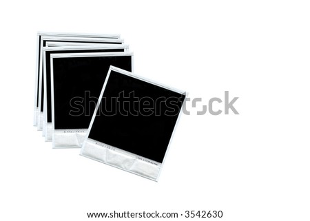 Group of blank disposable photos isolated on white background