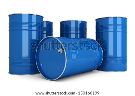 Group of blue metal barrels to store oil, gasoline, diesel, water, chemicals, toxic substances. Objects are isolated on a white background. - stock photo