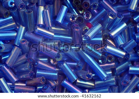 Group of blue plastic beads - stock photo