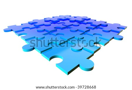 group of blue puzzle pieces - stock photo