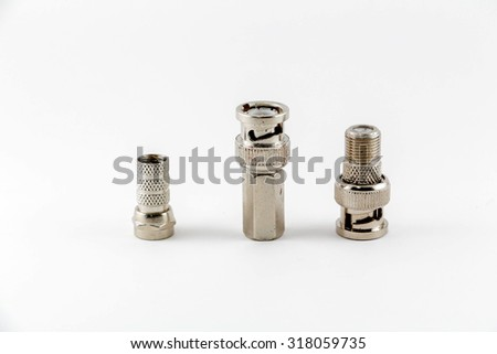 Group of BNC connectors used for coaxial cable. Objects isolated on white background - stock photo