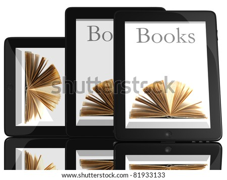 Group of Books and teblet computer 3D model isolated on white, digital library concept