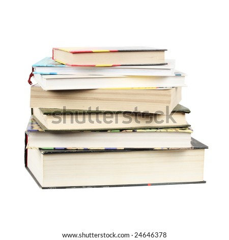 group of books isolated over white