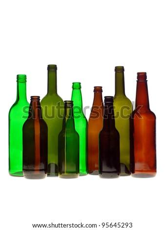 Group of bottles isolated on white background - stock photo