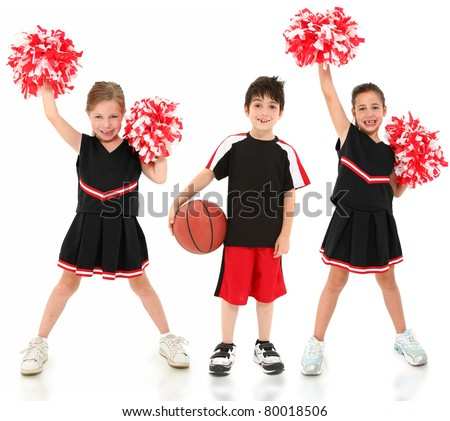 Group of boys and girls in cheerleader and basketball player uniforms over white.