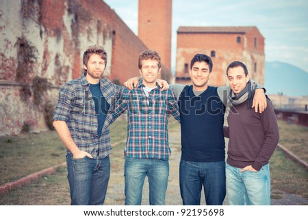 Group of Boys Outside - stock photo