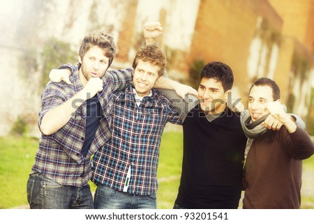 Group of Boys Outside,Italy ,Tuscany - stock photo