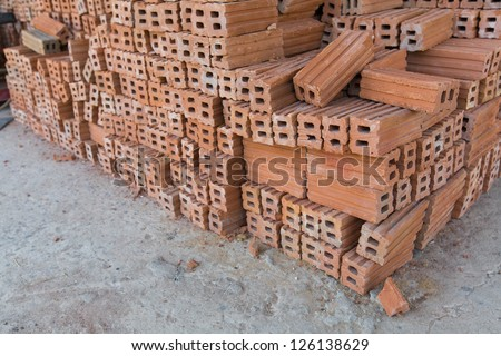 group of brick on cement