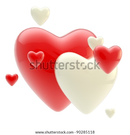 Group of bright and glossy red and white hearts isolated on white