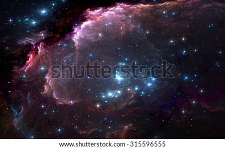 Group of bright blue massive stars in the nebula - stock photo