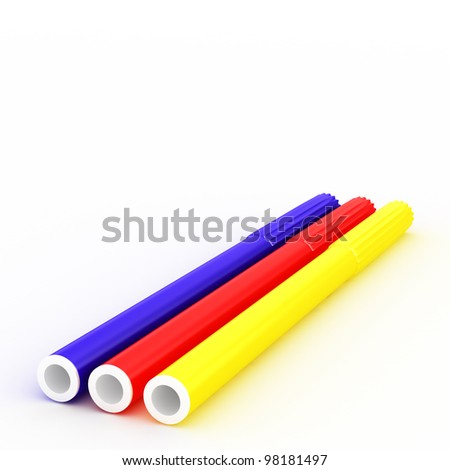 Group of bright color markers on white background