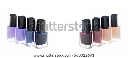 Group of bright nail polish colors fashion on white. There is a place for text