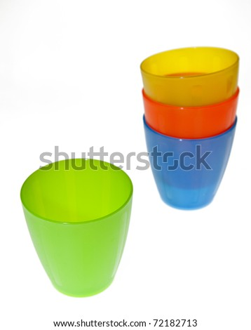 Group of brightly coloured plastic cups