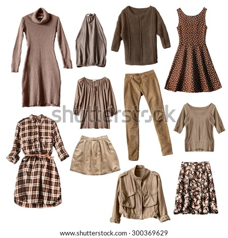 Group of brown female clothes isolated over white - stock photo