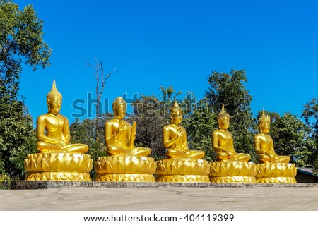 Group of Buddha and Buddha aspects in a row in front of green vegetation and a cloudless deep blue sky. All of them equipped with third eye and ushnisha of different sizes. Buddha Shakyamuni, Gautama. - stock photo