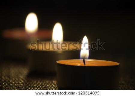 Group of burning candles - stock photo