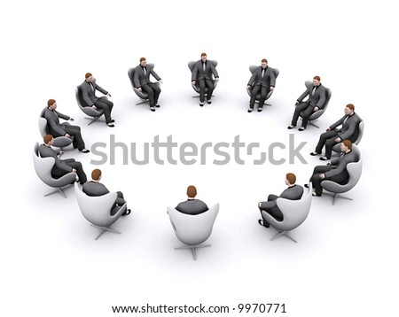group of business men have gathered with empty space in middle - stock photo