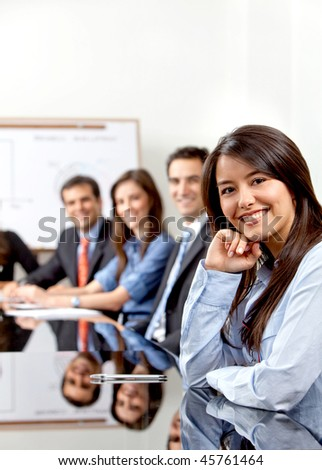 Group of business people at a coporate meeting - stock photo