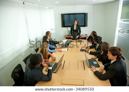 Group of business people at a staff meeting - stock photo