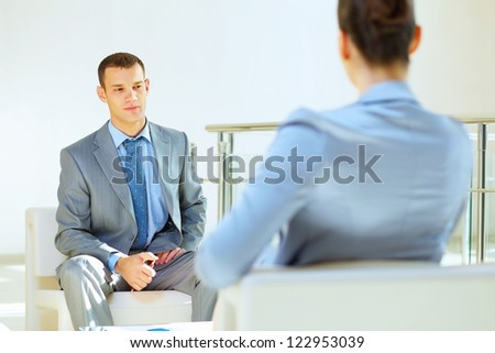 Group of business people at conference hall at the start of the conference meeting - stock photo
