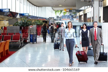Group of business people at the international airport. - stock photo