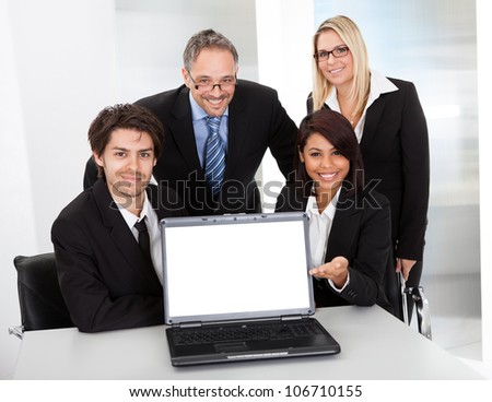 Group of business people at the meeting discussing - stock photo