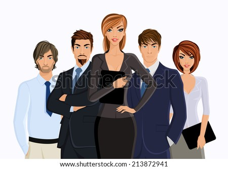 Group of business people busines woman with team isolated on white  illustration - stock photo