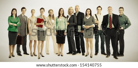 Group of business people. Business team. over grey background - stock photo