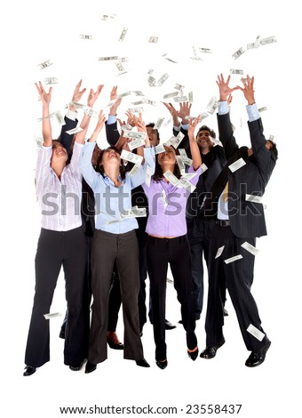 Group of business people catching dollars under money rain - isolated - stock photo