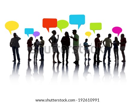 Group of business people communicating with speech bubbles. - stock photo