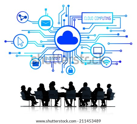 Group of Business People Discussing Cloud Computing - stock photo