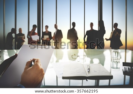 Group of Business People Discussing in the Office Concept - stock photo