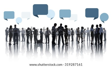 Group Of Business People Discussing White Background Concept - stock photo