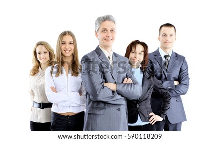 Group of business people facing each other