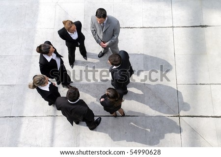 Group of business people from above - stock photo