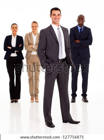 group of business people full length isolated on white - stock photo