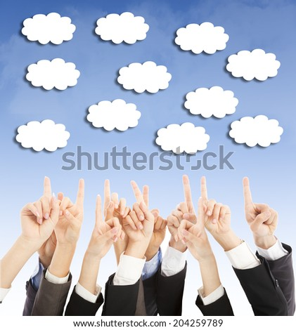 group of business people hands point upward cloud - stock photo